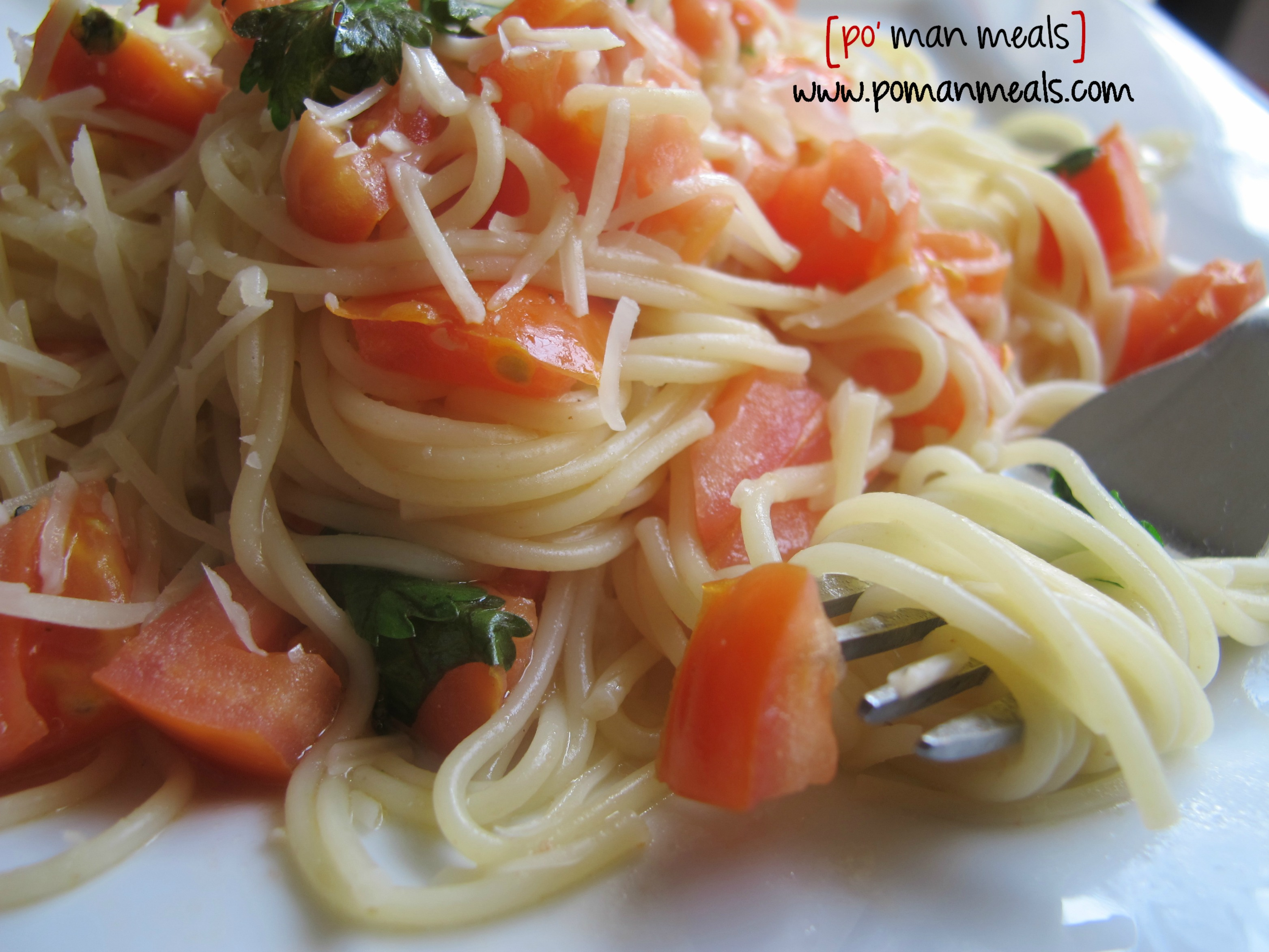 Po Man Meals Angel Hair Pasta With Tomatoes And Parmesan