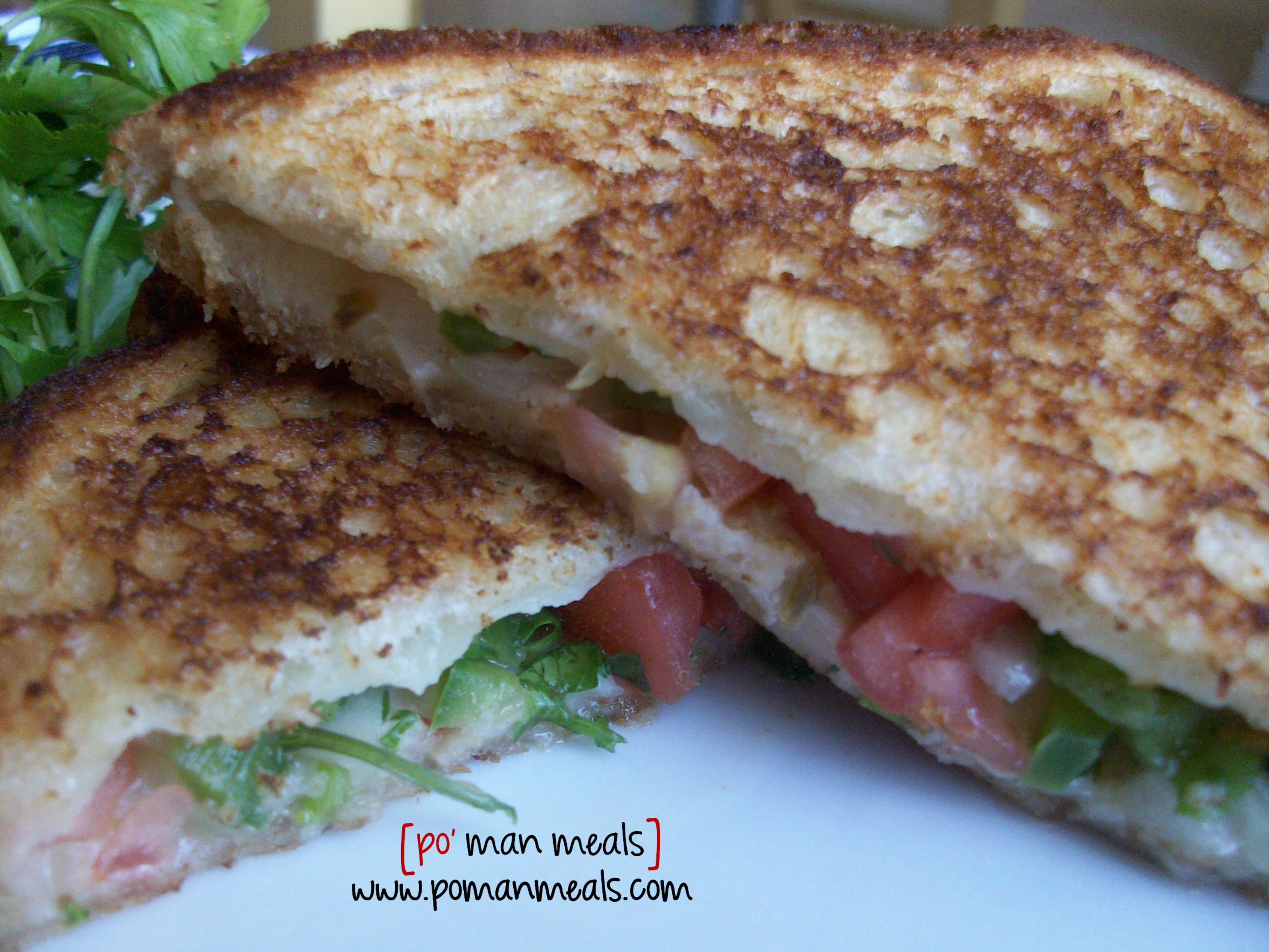 po' man meals - spicy tomato grilled cheese sandwich