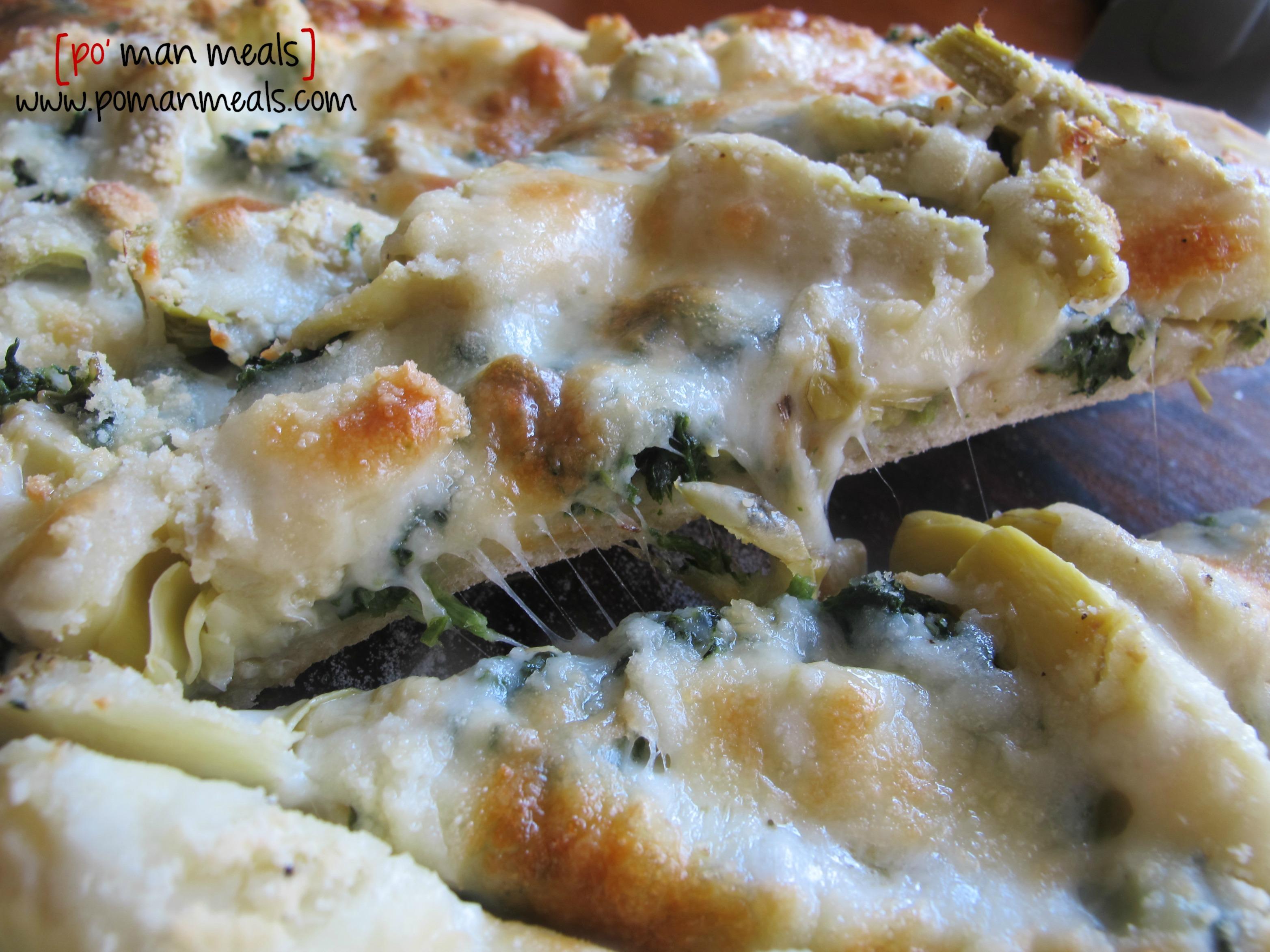 po' man meals - cheesy spinach and artichoke pizza