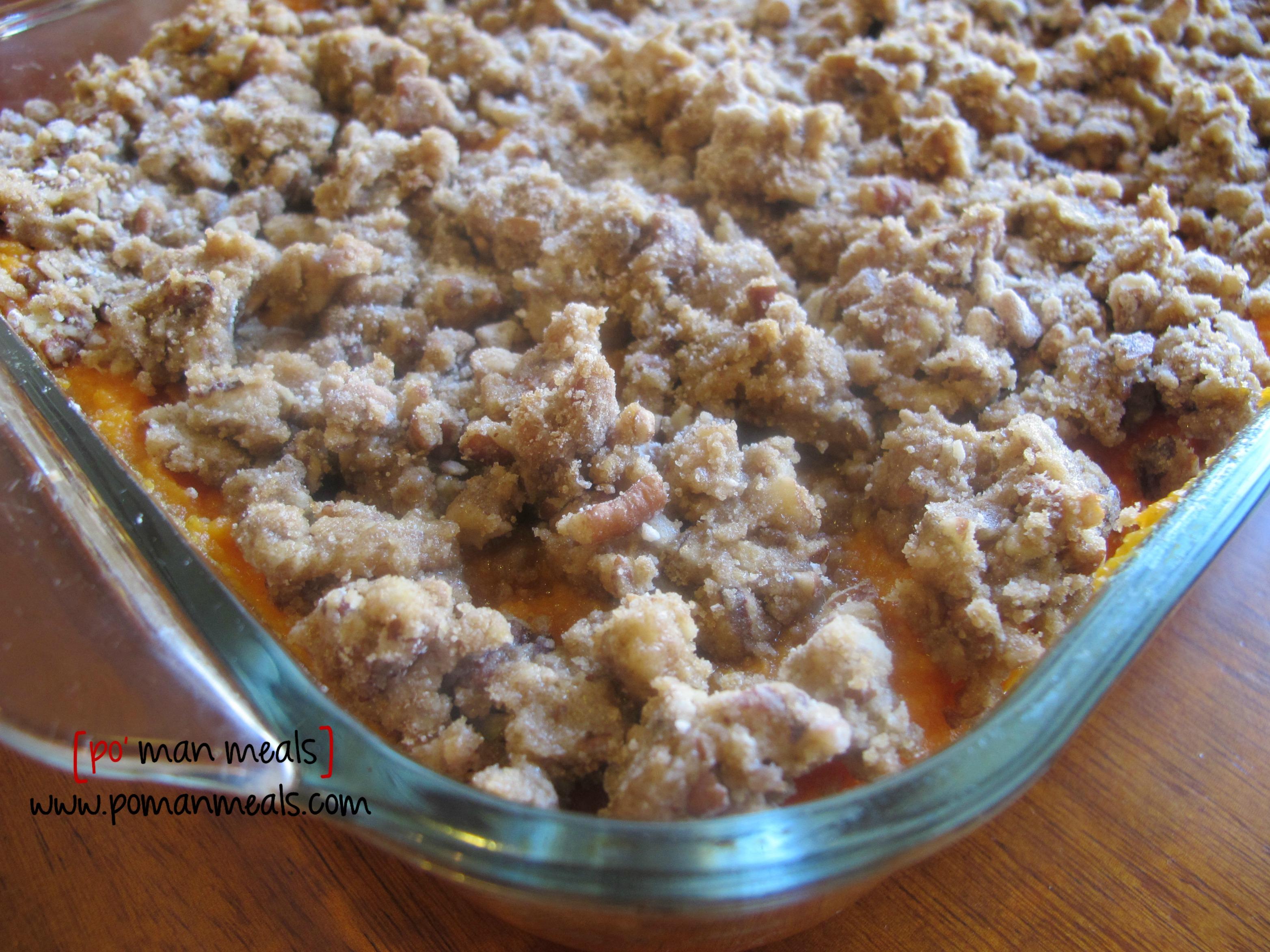 po' man meals - sweet potato casserole w/pecans