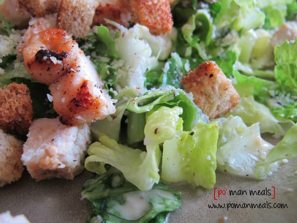 po' man meals - chicken caesar salad with garlic onion croutons