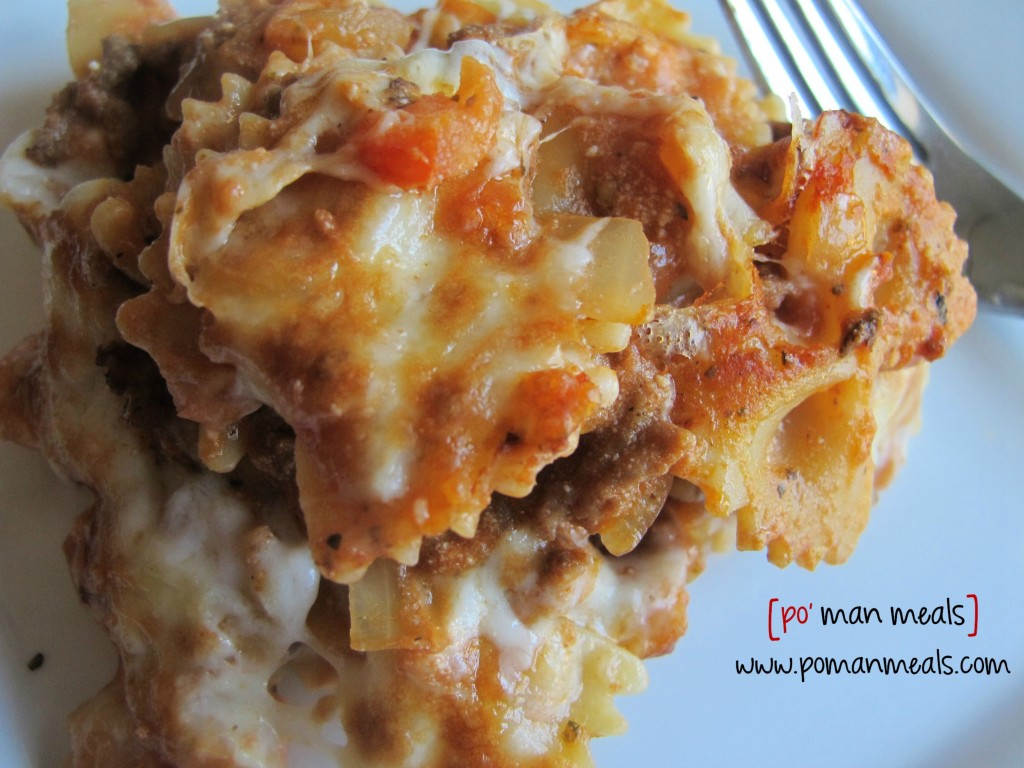 po' man meals - cheesy lasagna pasta