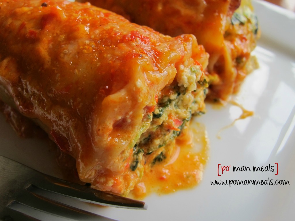 po' man meals - spinach lasagna rolls with roasted red ...