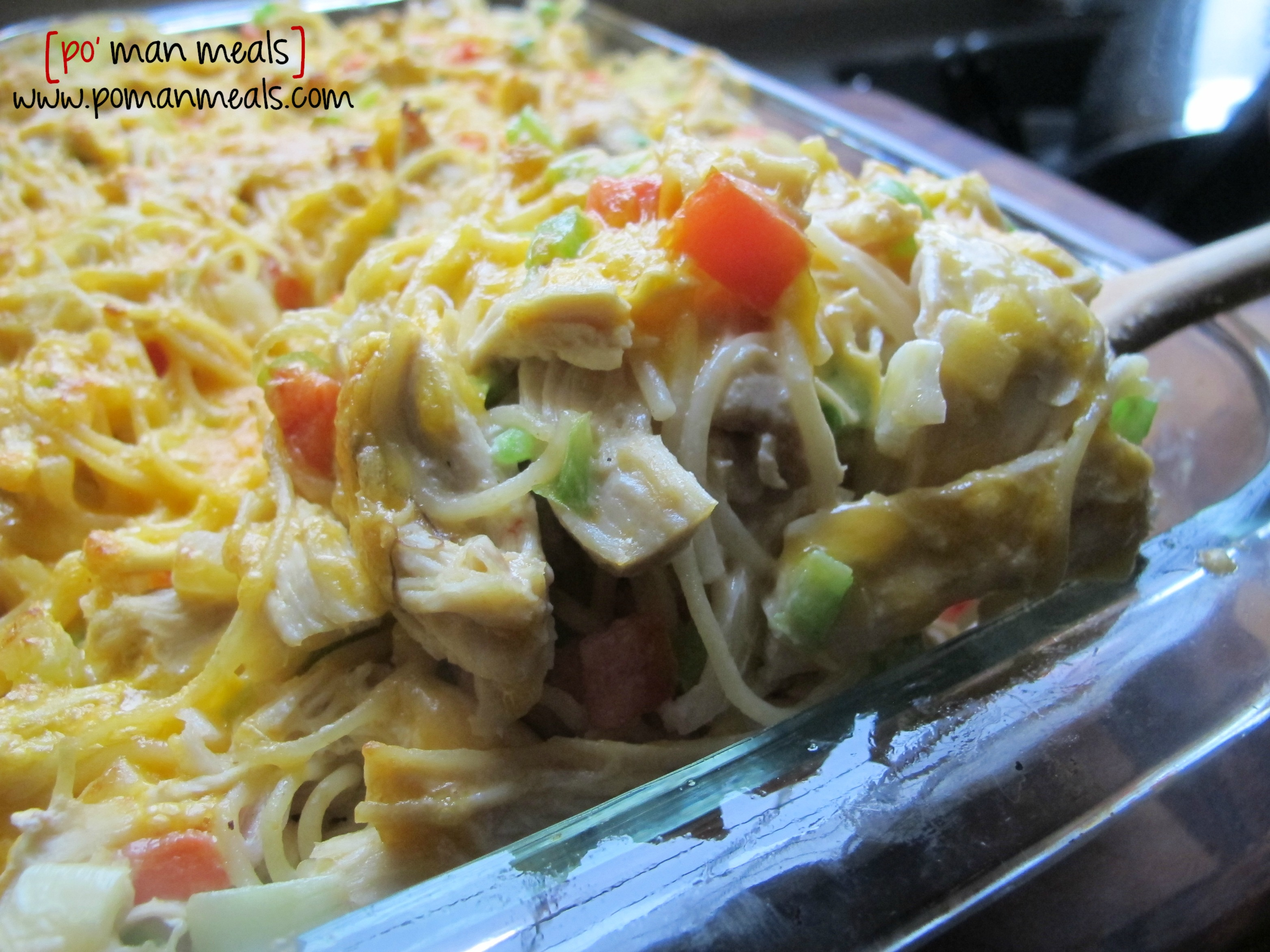 po' man meals - baked cream cheese chicken spaghetti